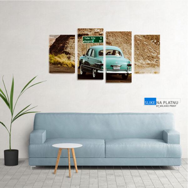 Automobil u pustinji slika na platnu