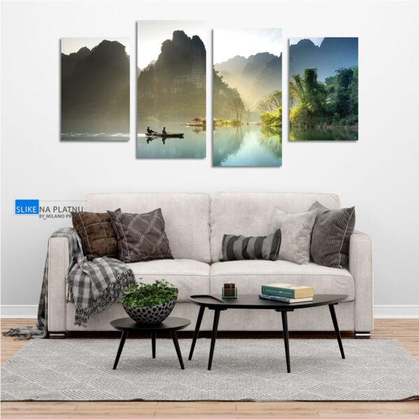 Camac na jezeru slika na platnu