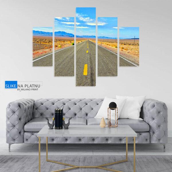 Put kroz pustinju - petodelna slika na platnu