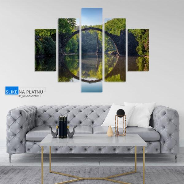 Most na reci slika na platnu