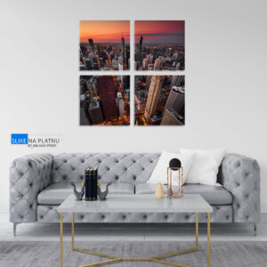 Zalazak nad gradom slika na platnu